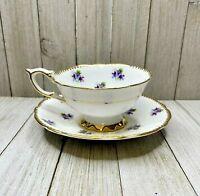 Vintage Sweet Violets Royal Stafford Bone China Floral Cup & Saucer
