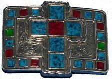 Western Sonora Cross Jesus Belt Buckle Antique Nickle Silver with Stones