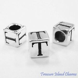 Letter T 925 Solid Sterling Silver Alphabet 7mm Block Bead 5mm Hole Diameter