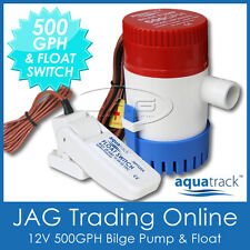 KIT AQUATRACK 500 GPH BILGE PUMP & FLOAT SWITCH - Marine/Boat/Water/Submersible