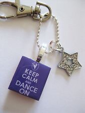 Dance Keyring Keep Calm and Dance On cyrstal star keyring charm in purple Gift