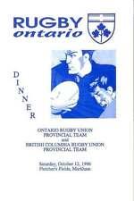 Ontario v British Columbia 12 Oct 1996 Rugby Dinner Menu Card