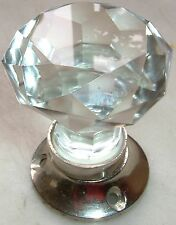 Cut glass mortice sparkling doorknobs chrome base (single) vintage classic style