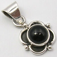 """925 Sterling Silver Genuine CABOCHON BLACK ONYX TRADITIONAL New Pendant 0.9"""""""