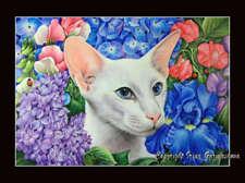 Oriental Cat In Bloom Print by I Garmashova