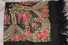 "Russian Authentic Original New Pavlovo Posad shawl 100% wool, wool fringe 37"""
