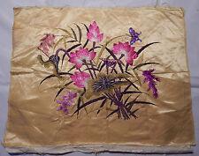 Antico Cinese RICAMO SILK FLOWER muro Appendere Arazzo / PANNELLO