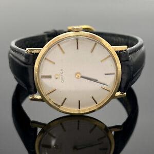 Men's Vintage Omega 14K Yellow Gold Slim 33mm Mechanical Wind Dress Wrist Watch