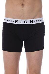 RICH JOHN RICHMOND Underwear Black Cotton Stretch Brand Boxer Brief 2-Pack US XL