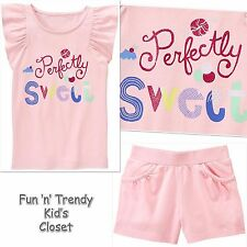 Nwt Gymboree Mix N Match Girls Size Medium 7-8 Pink Shorts & Tee Shirt 2-Pc Set