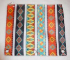 Pencil Pouch-Three Rings For A Binder-Aztec Pattern-Fabric-Zipper-Colorful