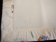 Quiltex Beatrix Potter Baby Blanket Vintage Union Made USA Cream Peter Rabbit