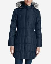 NEW blue Eddie Bauer lodge Down parka Coat removable fur trimmed hood XS Xsmall