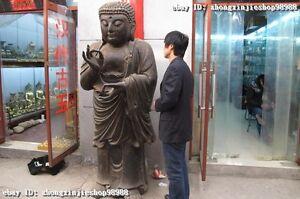 """80"""" Huge Tibet Buddhism  Wood Carved painted Sakyamuni Tathagata Buddha Statue"""