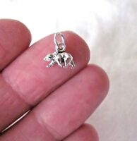Small Sterling Silver tiny 3D Bear miniature charm