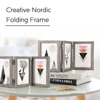 Wood Picture Farmhouse Photo Frame Hand Painted Desktop Foldable Display Retro