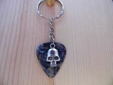 Guitar Pick Keychain - Grey Pick with Skull Charm