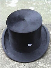 Large Antique Continental Black Silk Top. Hat Sz 7 1/8 ..