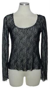 YANSI FUGEL Womens Lace Mesh Stretch Knit Top Blouse Size Small
