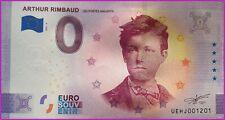 Banknote / Billet Zéro Euro ARTHUR RIMBAUD 2021 Numéro Divers