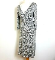 PURE Collection Fit Flare Midi Dress UK 12 Grey White Long Sleeve Waist Tie Silk