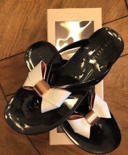 TED BAKER ETTIEA WOMENS BLACK & CREAM BOW  FLIP FLOPS SHOE size 9 UE 40 NIB