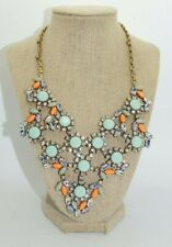 J CREW Mint Green Coral Flower Crystal Bib Necklace