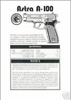 Astra A-100 Pistol Manual New Reproduction