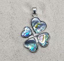 Abalone Anhänger Glücksklee in Herzform an Öse ca. 44 x 29 mm