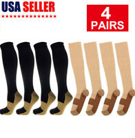 (4 Pairs) Anti-Fatigue Copper Infused Compression Unisex Flight Socks 20-30mmHg