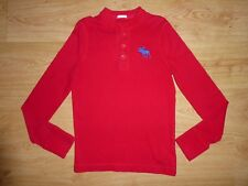 Men's Abercrombie&Fitch Red Long Sleeve Henley Neck Cotton Jersey Top S Slim