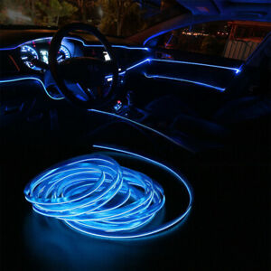 Cool BLUE LED Car Interior Decor Atmosphere Wire Strip Light Lamps Accessory 12V