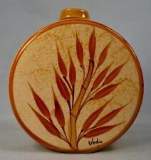 Sugar Cane Bamboo Round Decanter Canteen Eduardo Vega Pottery Equador Signed O