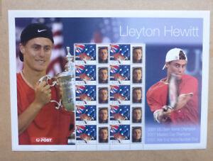 2001 LLEYTON HEWITT #1 TENNIS PERSONALISED STAMP SHEET MINT