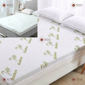 """2"""" / 1"""" Bamboo Memory Foam Mattress Luxury Topper Soft Thick All UK Bed Sizes"""