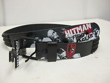 HITMAN FIGHT GEAR Size 38 Red Logo Black Matte Square Studded Belt Leather
