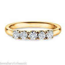 18Carat Yellow Gold Half Carat Diamond 5-Stone Ring Claw Set 0.50 carats GSI
