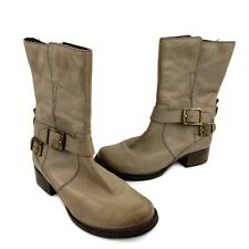 Clarks Monica Soul Buckle Leather Mid Calf Moto Boots In Taupe Size 7.5 Pull On