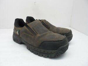 SKECHERS Men's Steel Toe Composite Plate Work Double Gore Slip-On Shoes Brown 8M