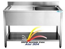 Lavello cm100x60x85 in ACCIAIO INOX AISI 304 Lavatoio 1 Vasca Dx Professionale