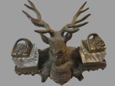 Antique Dbl. Inkwell Ornate Deer Elk Antler Gold Gilt Fountain Pen Holder MS206