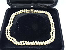 """Attractive 2 String 18"""" Pearl Necklace - 9ct Yellow Gold & Sapphire Clasp"""