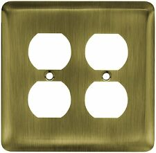 64068 Stamped Antique Brass Double Duplex Outlet Switch Cover