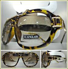Mens CLASSIC RETRO HIP HOP Style SUNGLASSES Tortoise & Gold Luxury Fashion Frame