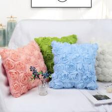 17'' 3D Romantic Rose Flower Throw Pillow Cushion Case Cover for Sofa Seat Decor
