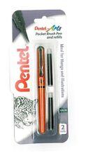 Pentel Pocket Noir Chinois Encre Pinceau Stylo + 2 recharges (FP10) - Orange Barrel