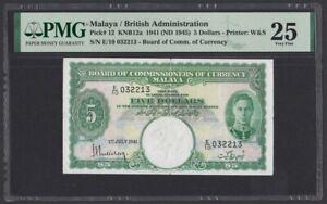 Malaya 5 Dollars 1941 1945 (Pick 12) PMG-25
