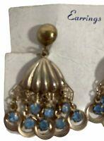 Vintage Clam Shell Czech Blue Glass Bead Dome Screw Back Clip Dangle Earrings