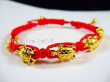 Gold Turtle Feng Shui Jewelry Lucky Good Luck Longevity Charm String Bracelet
