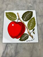 MID-CENTURY GEORGES BRIARD APPLE ENAMEL METAL TILE TRIVET / COASTERS